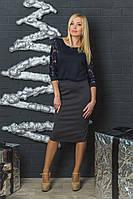 Женская трикотажная юбка темно-серая