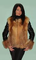 Меховая куртка-жилет жилетка из рыжей лисы с отстежными кожаными рукавами и капюшоном Модель 9
