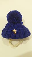 Зимняя шапка с бубоном VipDoggy размер M синяя