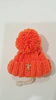 Зимняя шапка с бубоном VipDoggy размер M оранжевая