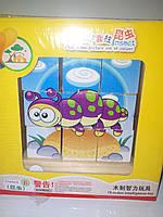 Деревянная игрушка кубики на штырьках 9 шт насекомые