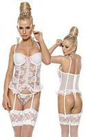 Белый эротический кружевной корсет и трусики Suspendertop & string