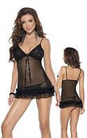 Красивый черный пеньюар и трусики Mini dress & string