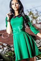 Платье  трикотажное мини цвет изумруд с черным воротнником