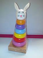 Деревянная игрушка пирамидка зайчик