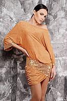 Платье-туника вечернее с декоративной вставкой из пайеток №155 золотое