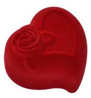 Футляр для кольца красного цвета сердце с розой
