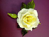 """Роза оформленная """"светло желтая"""" d120 см.(код 01145)"""