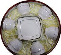 """Чайный сервиз  фарфоровый 12 предметный с круглыми чашками """"Снежная Королева"""""""