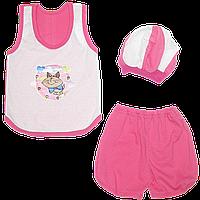 Костюмчик для девочки: майка без рукавов, шортики и шапочка; ТМ Малыш, р. 98