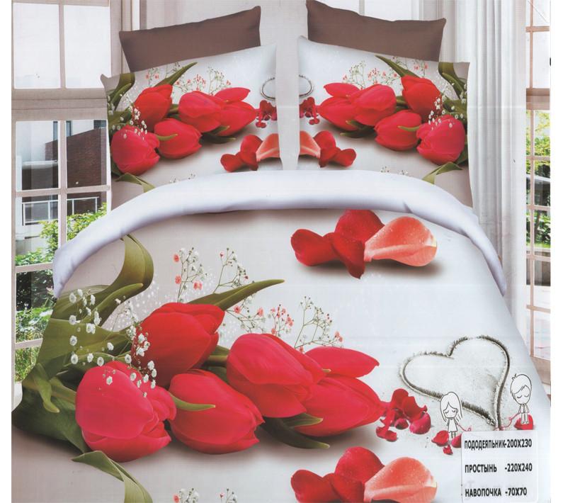 Комплект постельного белья (евро-размер) № 756