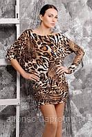 Ассиметричное платье-туника с лепардовым принтом с регулируемой длиной №140