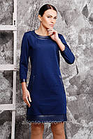 Повседневное платье с отделкой из искусственной кожи №144 синий