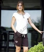 Женский домашний костюм, футболка с шортами для дома и отдыха