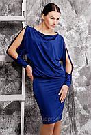 Вечернее платье с драпировкой и аппликацией из больших камней по плечам №150