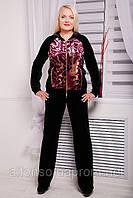 Женский брючный костюм двойка из велюра №113 черный