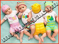 Детские бодики для малышей, комплект: боди + шапка + шорты