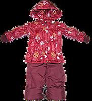 Детский весенний, осенний комбинезон (штаны на шлейках и куртка) на флисе и холлофайбере, р. 86 Д13