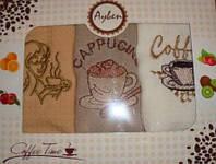 Набор вафельных кухонных полотенец с вышевкой Ayben 3 шт 30х50 см