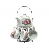 """Набор чайный 13 предметов""""Розы"""" на металлической подставке"""