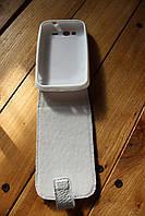 Купить чехол книжка для сенсорного телефона HTC Wildfire S G8. Кожа в белом цвете.