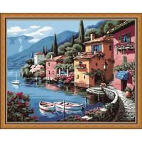Картина раскраска по номерам на холсте 40*50см Menglei Идейка MG103/КН103 Лодки у причала в городке
