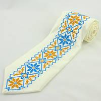 Галстук белый с украинской вышивкой