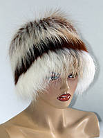 Меховая шапка из лисы Кубанка (двухъярусная) бело-рыжая.
