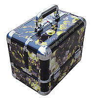 Эксклюзивный алюминевый кейс для косметики с выдвижными полками, цвет - цветы.