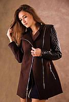 Пальто кашемировое с кожаными рукавами Адель