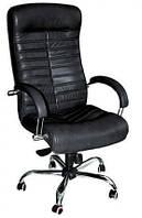 Кожаное кресло Орион HB кожа сплит чёрная НВ алюм, мех. ANYFIX
