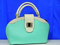 Эксклюзивная женская сумка бирюзовая с бежевым с карабином