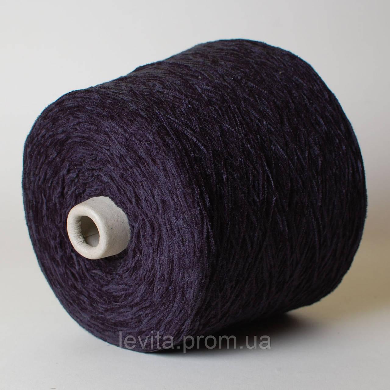 """Пряжа-велюр, фиолет с чёрным (100% акрил; 600 м/100 г) в интернет-магазине пряжи """"Левита"""""""