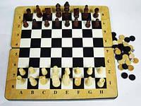 Шахматы, шашки, нарды 3в1 из натурального лакированого дерева 48*48 см