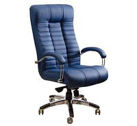 Кресло для руководителя Атлантис Хром кожа сплит чёрная, мех ANYFIX