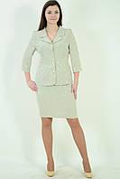 Костюм женский нарядный ментоловый   Кос 013-2,48-54, юбка по колено, хлопок, вискоза ,