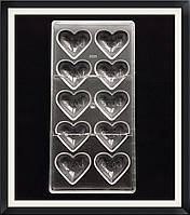 Поликарбонатная форма Сердце для конфет, карамели, шоколада