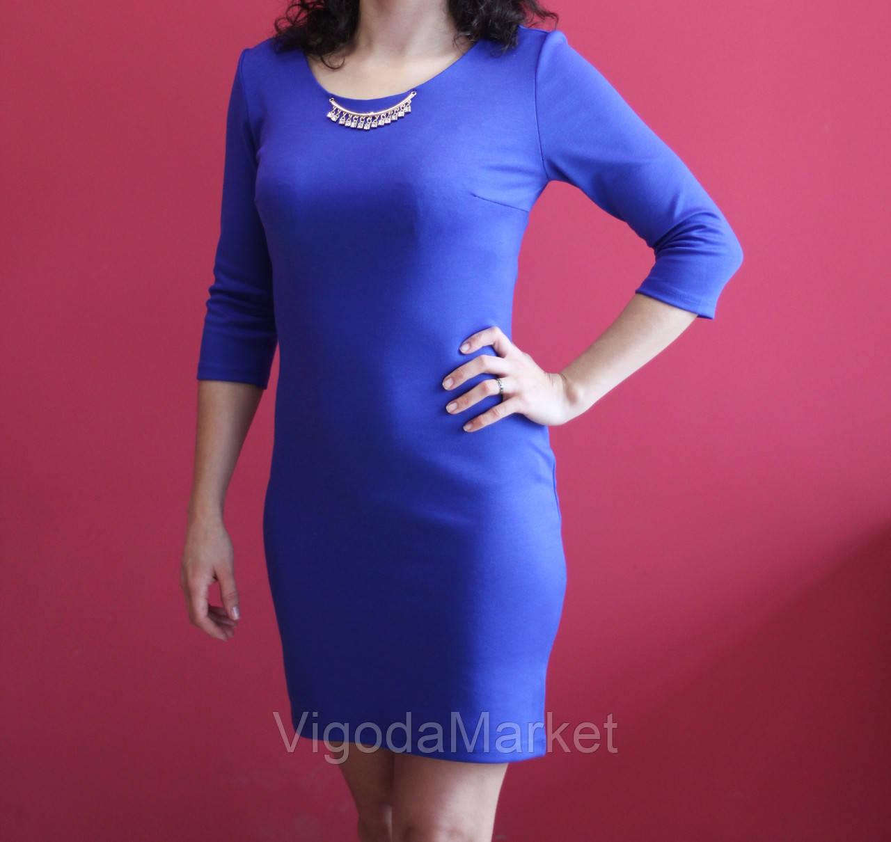 Бижутерия к синему платью с круглым вырезом