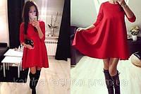 Женское трикотажное платье красного цвета! бока ровные!