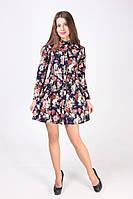 Женская рубашка-туника в цветочный принт