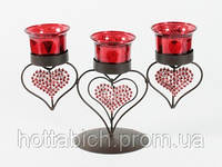 Подсвечник на 3 свечи Сердца
