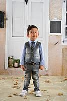 Комплект джинсовый для мальчиков. Джинсы, жилетка, рубашка и галстук