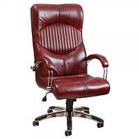 Кресло для руководителя Геркулес Хром кожа сплит чёрная