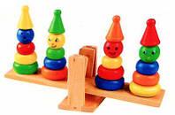 Деревянная игрушка Весы пирамидка качелька