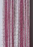"""Шторы-нити (кисея) радуга """"дождик"""" (фрезовый+розовый+белый)"""