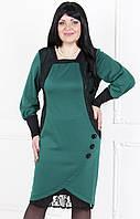 Вечерние платье-тюльпан с отделкой из кружева №116 зеленый