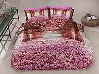 Комплект постельного белья First choice  3D сатин LOVE THE WAY Двуспальный Евро Растения, цветы