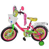 Велосипед 12 дюймов детский мульт Бабочка кисточки корзина на руле двухколесный Profi P1251F-B
