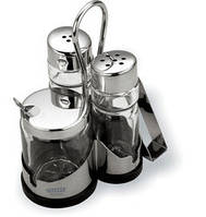 Vitesse Набор для соли, перца и горчицы с держателем для салфеток Orva New VS-1253