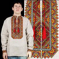 Серая сорочка вишиванка из льна для мужчин